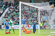Jamie McLaren scores goal during the Ladbrokes Scottish Premiership match between Hibernian and Rangers at Easter Road, Edinburgh, Scotland on 13 May 2018. Picture by Kevin Murray.