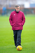 Craig Levein, manager of Heart of Midlothian watches his team train ahead of the SPFL Premiership match between Hearts v St Mirren at Oriam Sports Performance Centre, Riccarton, Edinburgh, Scotland on 22 November 2018.