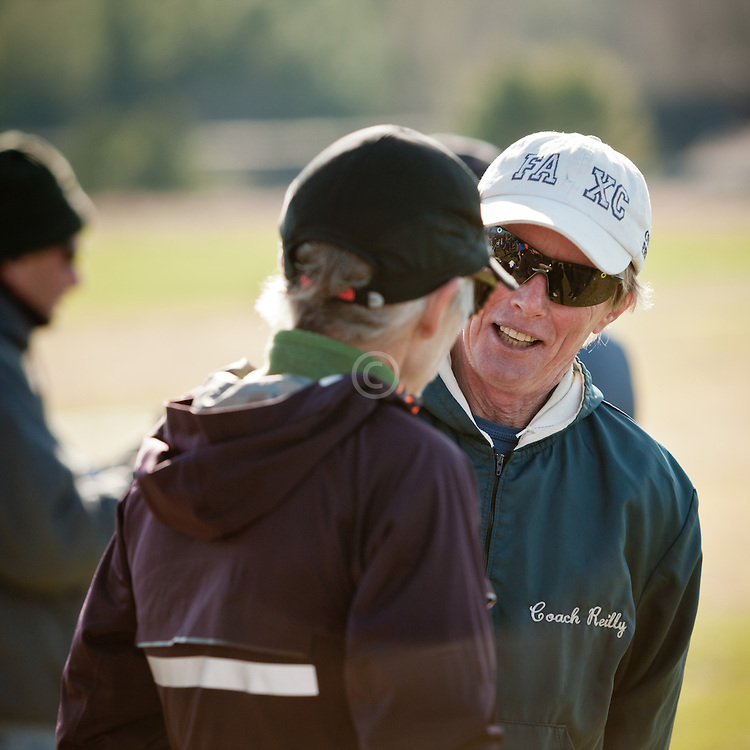 New England High School XC Championship, Bill Reilly, Fryeburg, talks to Joan Sameulson