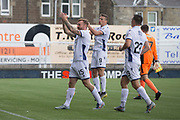 13th July 2019,  Starks Park, Kirkcaldy, Scotland; Scottish League Cup football, Raith Rovers versus Dundee; Craig Curran of Dundee celebrating scoring for 3-0 in the 75th minute