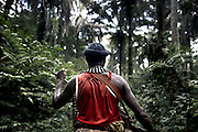 An FDLR soldier treks through rainforest in North Kivu, DRC, on Sunday, March. 16, 2008..The FDLR comprises Hutu extremists who fled Rwanda after their involvement in the 1994 genocide, as well as Hutu members of the former Rwandan army and a mix of displaced Rwandan Hutus. Numbering approximately 10,000, they have lived in the jungles of DRC for the past 14 years and in that time have resisted repeated calls for disarmament and repatriation..