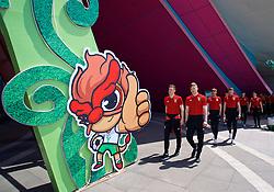 NANNING, CHINA - Tuesday, March 20, 2018: Wales' Tom Lockyer and Lee Evans during a team walk at the Wanda Realm Resort ahead of the 2018 Gree China Cup International Football Championship. (Pic by David Rawcliffe/Propaganda)