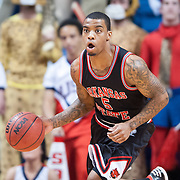 MOBILE, AL - DECEMBER 29:  Marcus Hooten #5 of the Arkansas State Red Wolves runs down the court during their game against the South Alabama Jaguars at USA Mitchell Center on December 29, 2012 in Mobile, Alabama. At halftime Arkansas State leads South Alabama 28-23. (Photo by Michael Chang/Getty Images) *** Local Caption *** Marcus Hooten