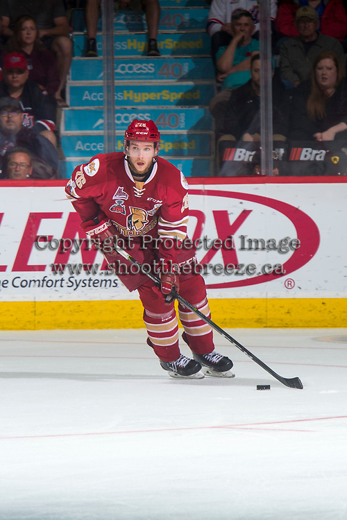 REGINA, SK - MAY 27: Olivier Galipeau #26 of Acadie-Bathurst Titan skates with the puck against the Regina Pats at the Brandt Centre on May 27, 2018 in Regina, Canada. (Photo by Marissa Baecker/CHL Images)