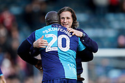 Wycombe Wanderers Manager Gareth Ainsworth celebrates with Adebayo Akinfenwa of Wycombe Wanderers during the EFL Sky Bet League 1 match between Wycombe Wanderers and Sunderland at Adams Park, High Wycombe, England on 19 October 2019.