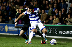 Solly March of Brighton & Hove Albion challenges Massimo Luongo of Queens Park Rangers - Mandatory by-line: Robbie Stephenson/JMP - 07/04/2017 - FOOTBALL - Loftus Road - Queens Park Rangers, England - Queens Park Rangers v Brighton and Hove Albion - Sky Bet Championship
