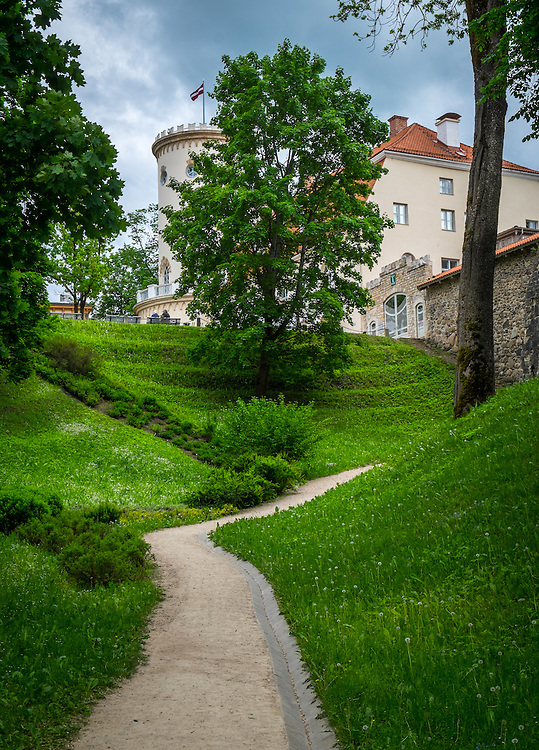 LATVIA, CESIS - CIRCA JUNE 2014: View of Cesis Castle Park in Latvia