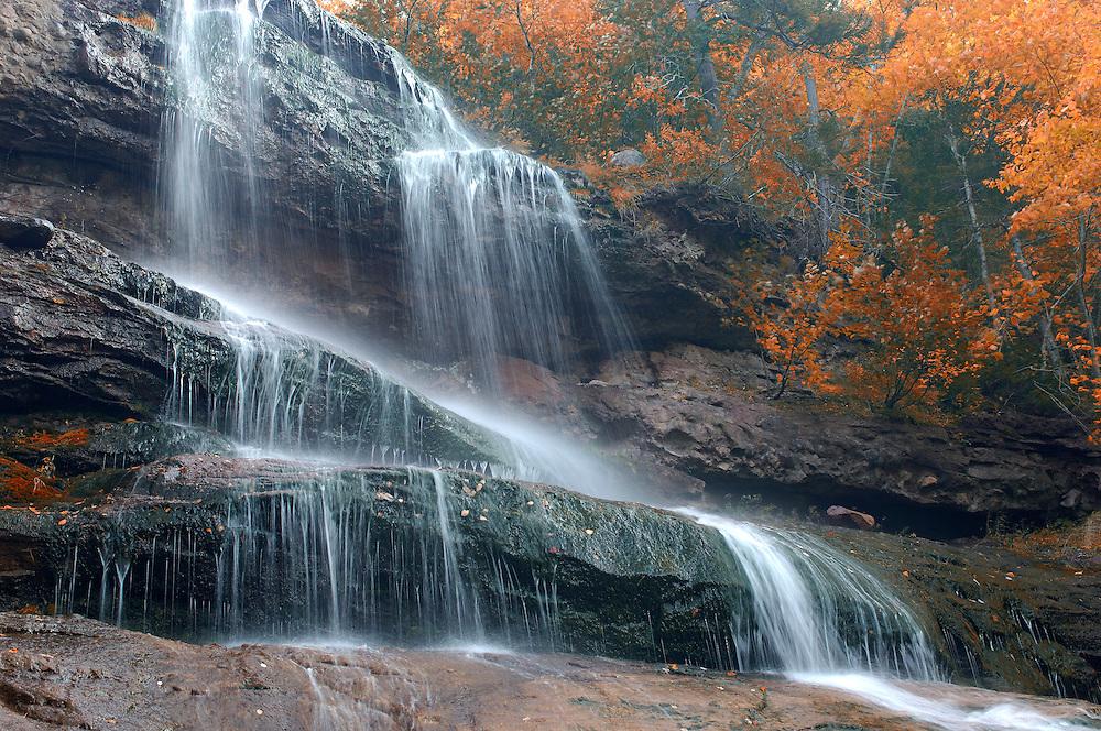 Beulach Ban Waterfalls, Waterfall, Indian Summer, Cape Breton Highlands National Park, Cape Breton Island, Nova Scotia, Maritimes, Canada