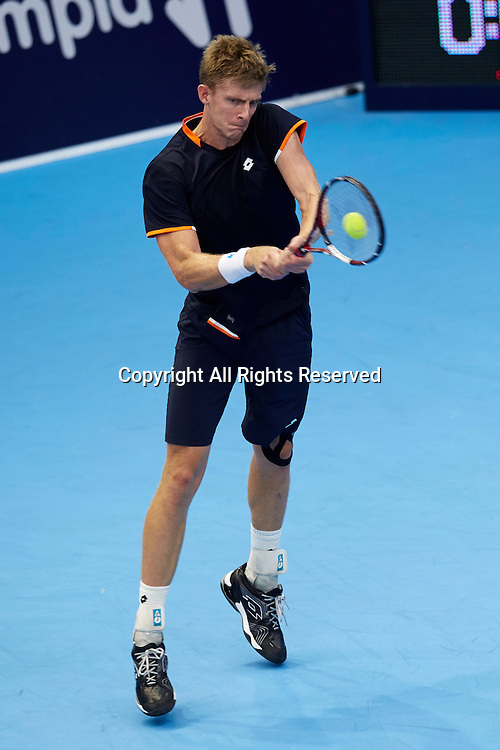 24.10.2014.  Valencia, Spain. Andy Murray of Great Britain versus Kevin Anderson of South Africa. Valencia Open 500 Tennis. Kevin Anderson of South Africa