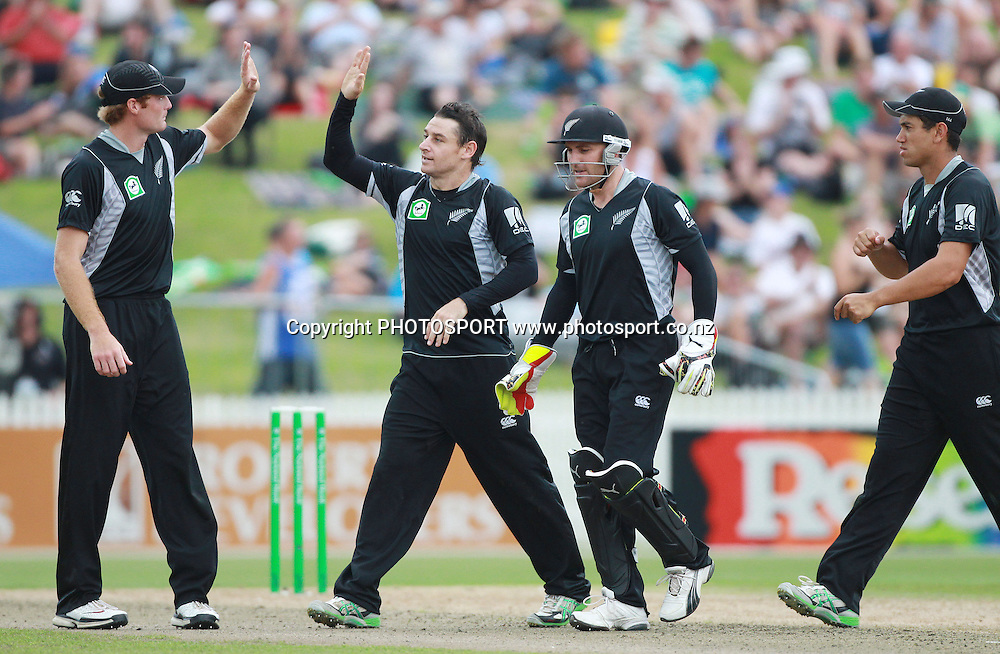 Nathan McCullum celebrates with team mates the wicket of Younis Khan during the 5th ODI, Black Caps v Pakistan, One Day International Cricket. Seddon Park, Hamilton, New Zealand. Wednesday 3 February 2011. Photo: Andrew Cornaga/photosport.co.nz