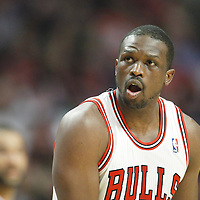 16 March 2012: Chicago Bulls small forward Luol Deng (9) reacts during the Portland Trail Blazers 100-89 victory over the Chicago Bulls at the United Center, Chicago, Illinois, USA.