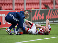 Agony for Hamilton&rsquo;s Mikey Devlin - Hamilton Academical v Dundee in the Ladbrokes Scottish Premiership at the SuperSeal Stadium, Hamilton, Photo: David Young<br /> <br />  - &copy; David Young - www.davidyoungphoto.co.uk - email: davidyoungphoto@gmail.com