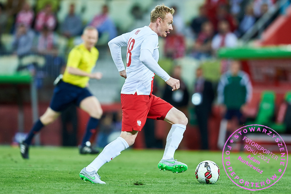 Sebastian Mila from Poland controls the ball during international friendly soccer match between Poland and Greece at PGE Arena Stadium on June 16, 2015 in Gdansk, Poland.<br /> Poland, Gdansk, June 16, 2015<br /> <br /> Picture also available in RAW (NEF) or TIFF format on special request.<br /> <br /> For editorial use only. Any commercial or promotional use requires permission.<br /> <br /> Adam Nurkiewicz declares that he has no rights to the image of people at the photographs of his authorship.<br /> <br /> Mandatory credit:<br /> Photo by &copy; Adam Nurkiewicz / Mediasport