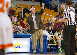 Greenbrier East head coach Jim Justice calls out a play against South Charleston during a first round game at the Charleston Civic Center.