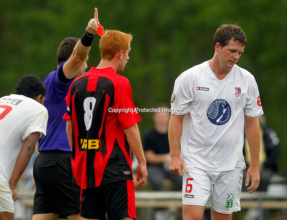 Referee Nick Waldron sends Waitakere's Matt Cunneen from the match. ASB Premiership, Waitakere United v Canterbury United, Fred Taylor Park Whenuapai, Sunday 11th March 2012. Photo: Shane Wenzlick