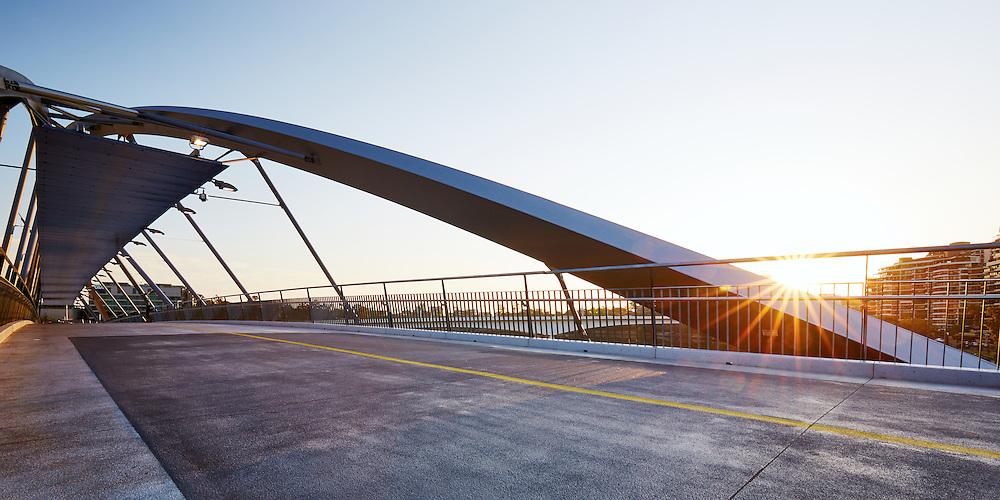 Sunrise on the Goodwill Bridge, Brisbane, Australia.