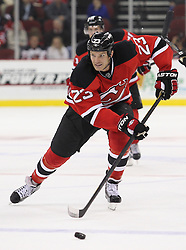 Oct 13; Newark, NJ, USA; New Jersey Devils right wing David Clarkson (23) skates with the puck during the second period of their game against the Los Angeles Kings at the Prudential Center.