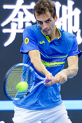 BEIJING, Oct. 2, 2018  Albert Ramos-Vinolas of Spain hits a return during the men's singles first round match against Juan Martin del Potro of Argentina at China Open tennis tournament in Beijing, China, Oct. 2, 2018. Albert Ramos-Vinolas lost 0-2. (Credit Image: © Liu Jinhai/Xinhua via ZUMA Wire)