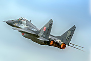 """Mikoyan MiG-29A """"Fulcrum"""" of the Polish Air Force Photographed at Royal International Air Tattoo (RIAT)"""
