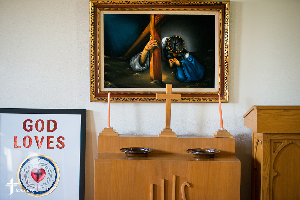 Church art at Zion Evangelical Lutheran Church, Lu Verne, Iowa, on Sunday, July 9, 2017. LCMS Communications/Erik M. Lunsford