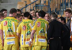 Team of Celje and Head coach of Celje Tone Tiselj during the 1st Main round of EHL Champions League match between RK Celje Pivovarna Lasko (SLO) and Rhein Neckar Lowen (GER), on February 14, 2009, in Arena Zlatorog, Celje, Slovenia. Rhein Neckar Lowen won 34:28.  (Photo by Vid Ponikvar / Sportida)