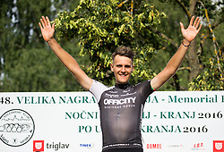 Winner De Marchi Mattia of A.S.D Cycling team Friuli during trophy ceremony after the cycling race 48th Grand Prix of Kranj 2016 / Memorial of Filip Majcen, on July 31, 2016 in Kranj centre, Slovenia. Photo by Vid Ponikvar / Sportida