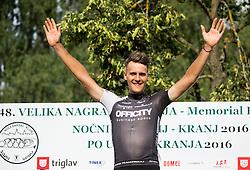Winner De Marchi Mattia of A.S.D Cycling team Friuli during trophy ceremony after the cycling race 48th Grand Prix of Kranj 2016 / Memorial of Filip Majcen, on July 31, 2016 in Kranj centre, Slovenia. Photo by Vid Ponikvar / Sportida