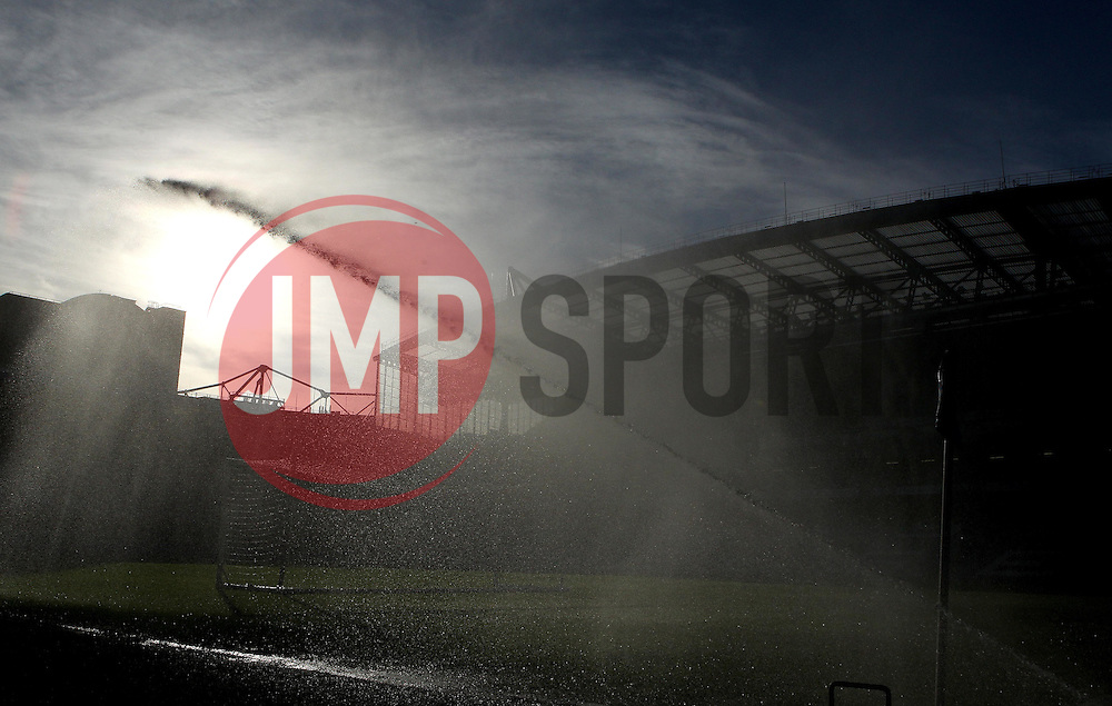 A sprinkler waters the pitch at Stamford Bridge ahead of the FA Cup tie between Chelsea and Scunthorpe United - Mandatory byline: Robbie Stephenson/JMP - 10/01/2016 - FOOTBALL - Stamford Bridge - London, England - Chelsea v Scunthrope United - FA Cup Third Round
