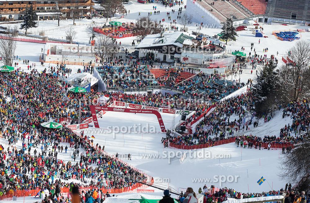 27.01.2013, Ganslernhang, Kitzbuehel, AUT, FIS Weltcup Ski Alpin, Slalom, Herren, 1. Lauf, im Bild uebersicht Ganslernhang // overview Ganslernhang during 1st run of the  mens Slalom of the FIS Ski Alpine World Cup at the Ganslernhang course, Kitzbuehel, Austria on 2013/01/27. EXPA Pictures © 2013, PhotoCredit: EXPA/ Johann Groder