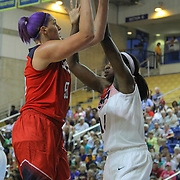 United States Center Stefanie Dolson (50) drives to the basket as United States Center Tina Charles (14) defends under the basket in the first half of a USA Women's National Team Exhibition game between Red and White Thursday, Sept. 11, 2014 at The Bob Carpenter Sports Convocation Center in Newark, DEL