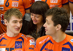 Vid Jakopin, Mojca Novak and Matej Vidic at press conference of volleyball club ACH Volley before new season 2010/2011, on November 5, 2010, in Ljubljana, Slovenia. (Photo by Vid Ponikvar / Sportida)