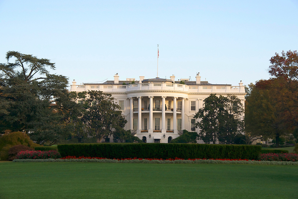 The White House is the official residence and office of the President of the United States of America.  This view of the White House is of the southern facade The Ellipse or the President's Park South.
