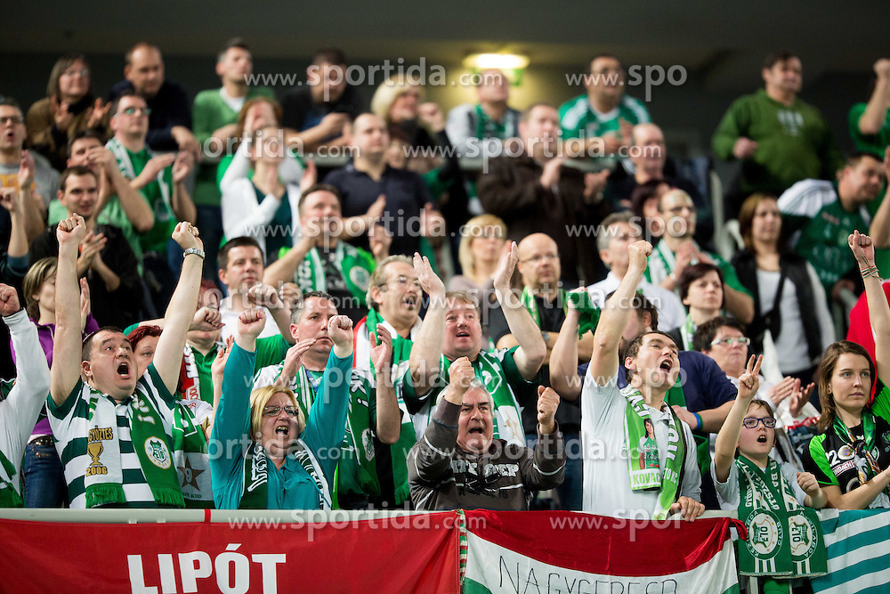Supporters of Gyori during handball match between RK Krim Mercator (SLO) and Gyori Audi ETO KC (HUN) in 4th Round of Main Round of  Women's EHF Champions League 2013/14 on March 1, 2014 in Arena Stozice, Ljubljana, Slovenia. Photo by Vid Ponikvar / Sportida