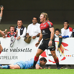 Werner KOK of Toulouse celebrates his try  during the Top 14 match between Montpellier and Toulouse on October 19, 2019 in Montpellier, France. (Photo by Alexandre Dimou/Icon Sport) - Werner KOK - Altrad Stadium - Montpellier (France)