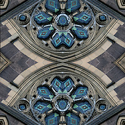 Computer abstract of altered and enhancement of church buttress as digital computer art.<br /> <br /> Two or more layers were used to enhance, alter, manipulate the image, creating an abstract surrealistic mirrored symmetry.