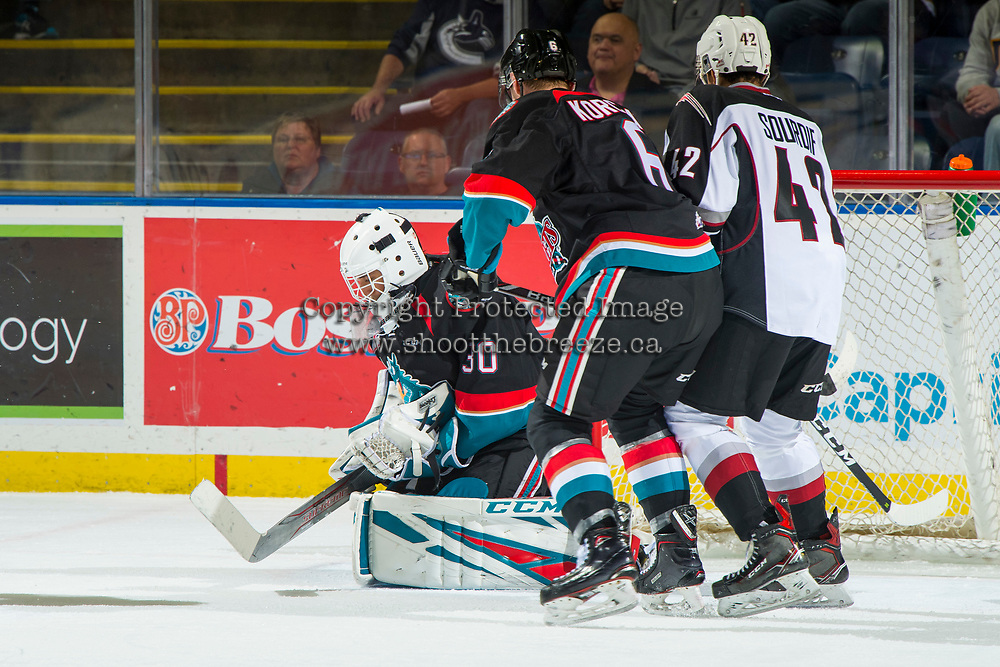KELOWNA, CANADA - OCTOBER 3: Roman Basran #30 of the Kelowna Rockets makes a save against the Vancouver Giants on October 3, 2018 at Prospera Place in Kelowna, British Columbia, Canada.  (Photo by Marissa Baecker/Shoot the Breeze)  *** Local Caption ***