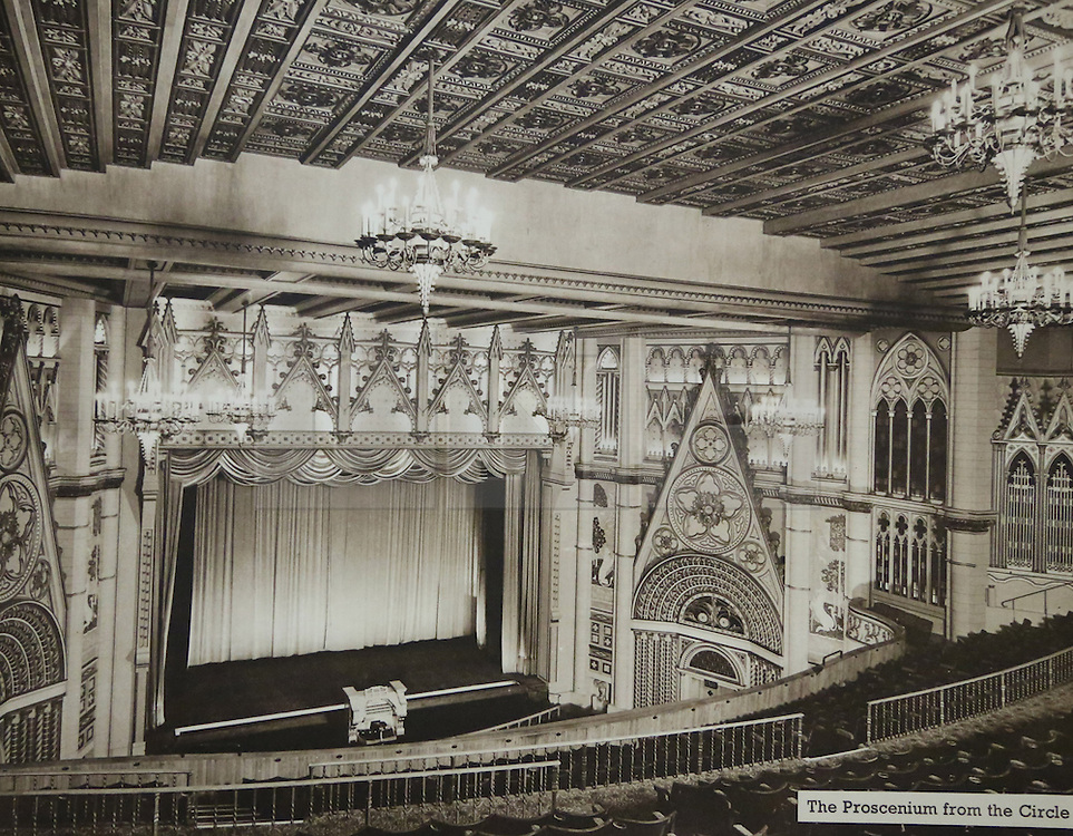 © Licensed to London News Pictures. 10/10/2013. A Grade-II listed former theatre in Woolwich is being restored to its former glory by a London based church. This photo of the auditorium comes from a promotional brochure produced at the time of its opening in 1937. Photo used with permission of Greenwich Heritage Centre. More copy at: http://www.greenwich.co.uk/woolwichgranada.txt  Credit : Rob Powell/LNP