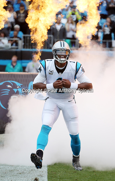 Carolina Panthers quarterback Cam Newton (1) runs onto the field from a cloud of white smoke and burning flames during player introductions before the 2015 NFL week 3 regular season football game against the New Orleans Saints on Sunday, Sept. 27, 2015 in Charlotte, N.C. The Panthers won the game 27-22. (©Paul Anthony Spinelli)