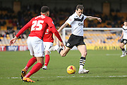 Port Vale defender Ben Purkiss with a shot during the Sky Bet League 1 match between Port Vale and Coventry City at Vale Park, Burslem, England on 7 February 2016. Photo by Simon Davies.