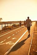Exercising at the Harbor in Marina Del Rey California
