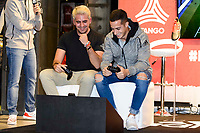 Youtuber Elchurches and Real Madrid's players Lucas Vazquez attends to the presentation of the new Adidas shoes Red Limit at Adidas Gran Via Store in Madrid. November 28, 2016. (ALTERPHOTOS/Borja B.Hojas)