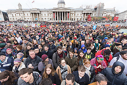 London, February 27th 2016. Part of the vast crowd in Trafalgar Square during CND's rally opposing the UK's Trident nuclear weapons programme. <br /> &copy;Paul Davey<br /> FOR LICENCING CONTACT: Paul Davey +44 (0) 7966 016 296 paul@pauldaveycreative.co.uk