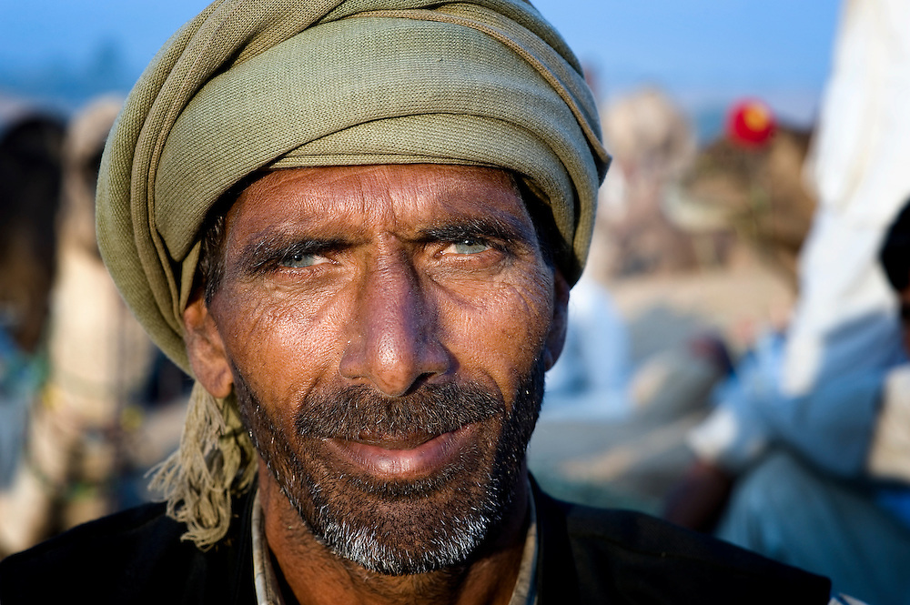 Light-eyed trader at the huge mela, the famous cattle fair in Pushkar that is held every year in India.