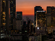 08 MARCH 2019 - BANGKOK, THAILAND: Sunset over Bangkok as seen from the EmQuartier, an upscale mall on Sukhumvit Rd.    PHOTO BY JACK KURTZ