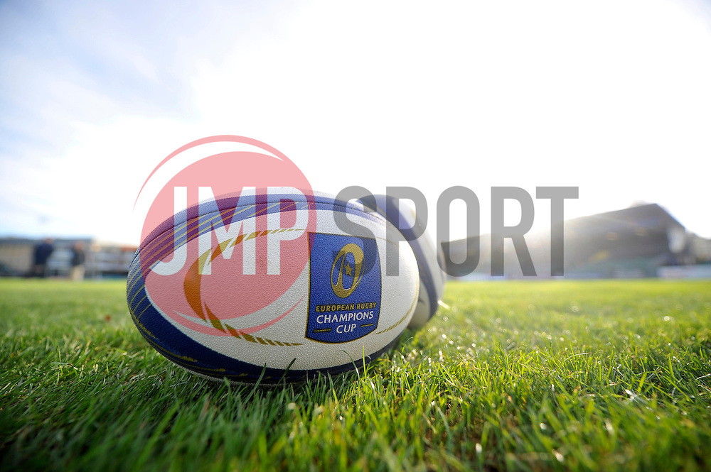 A general view of a European Rugby Champions Cup branded match ball - Mandatory byline: Patrick Khachfe/JMP - 07966 386802 - 21/11/2015 - RUGBY UNION - The Recreation Ground - Bath, England - Bath Rugby v Leinster Rugby - European Rugby Champions Cup.