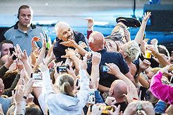"""© Licensed to London News Pictures . 07/07/2017 . Manchester , UK . Lead singer TIM BOOTH crowd surfs . """" James """" perform live at the Castlefield Bowl as part of Sounds of the City , during the Manchester International Festival . Photo credit : Joel Goodman/LNP"""