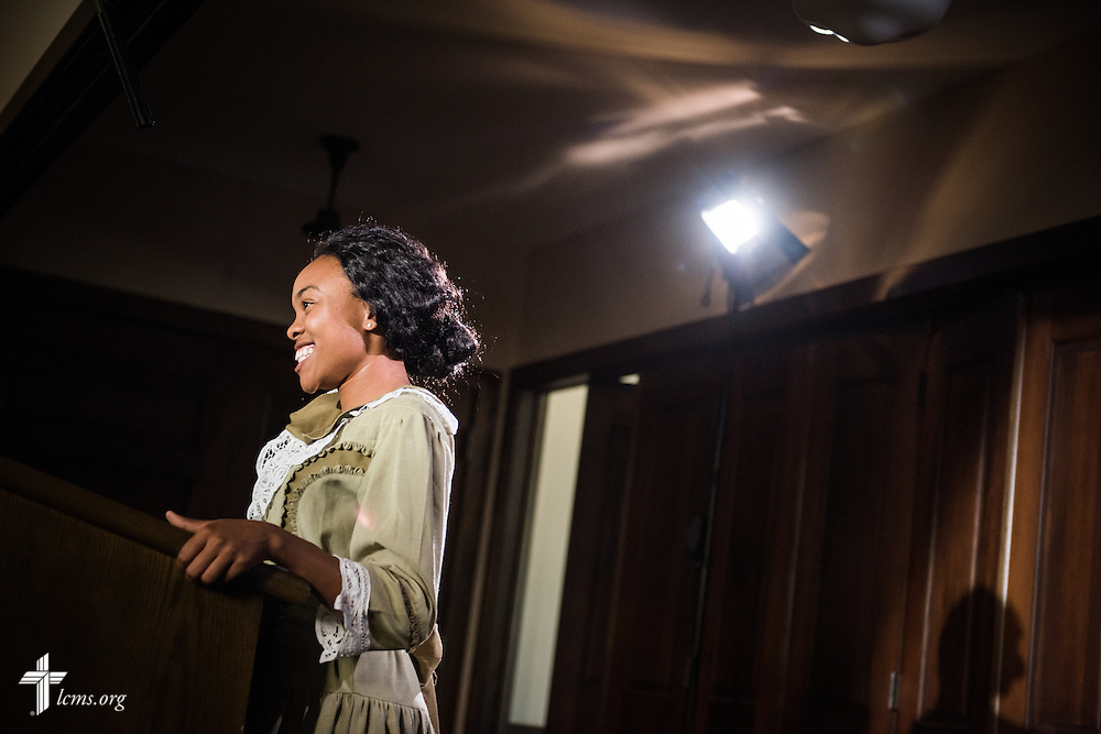 Jasmine Gatewood, an actress performing the role as young Rosa Young, prepares for a scene during filming of 'The First Rosa' documentary on Thursday, September 25, 2014, at Concordia College Alabam in Selma, Ala. LCMS Communications/Erik M. Lunsford