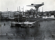 German warships under construction in the Imperial naval dockyards at Kiel, early 20th century.