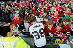 DUBLIN, REPUBLIC OF IRELAND - Saturday, August 5, 2017: Liverpool's Jon Flanagan signs autographs with the supporters after a preseason friendly match between Athletic Club Bilbao and Liverpool at the Aviva Stadium. (Pic by David Rawcliffe/Propaganda)