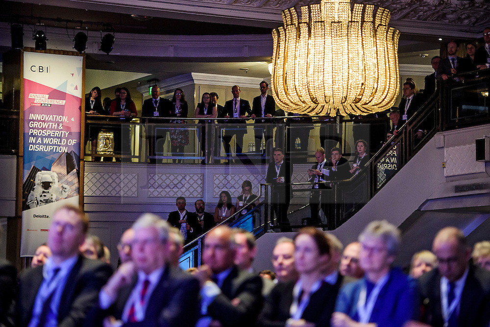 © Licensed to London News Pictures. 21/11/2016. London, UK. Members of the business community and conference attendees watch British Prime minister Theresa May speak at the Confederation of British Industry (CBI) conference, held at Grosvenor House in London.  Photo credit: Ben Cawthra/LNP